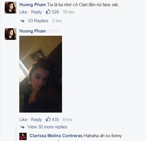 Clarissa cũng theo dõi và comment nhiệt tình trên Facebook Phạm Hương - Tin sao Viet - Tin tuc sao Viet - Scandal sao Viet - Tin tuc cua Sao - Tin cua Sao