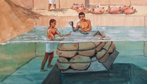 Đá sẽ được gia công và vận chuyển bằng lực đẩy của nước. (Ảnh: Internet)
