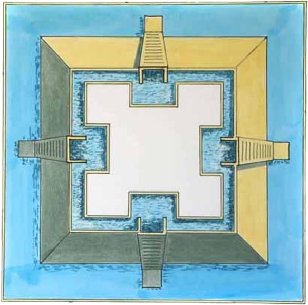 Bốn đường dẫn nước từ 4 hướng khác nhau sẽ đưa vật liệu vào vị trí tương ứng. (Ảnh: Internet)