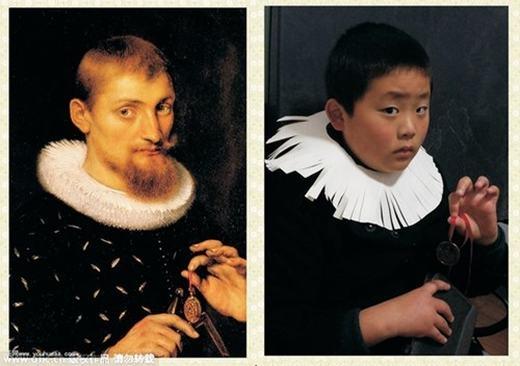 """""""Chân dung một người đàn ông"""" của Ruben dưới cách nhìn của cậu học sinh. Cậu đã dùng giấy và cắt tua thay cho vòng cổ. (Ảnh:China Daily)"""