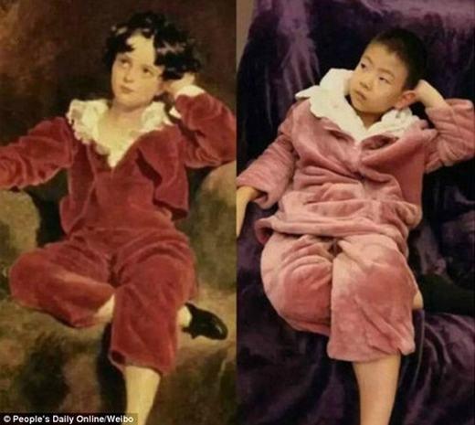 """Bức tranh """"Cậu bé đỏ"""" của Lawrence khiến nhiều người cười lăn lộn bởi vẻ """"hơi sai sai"""" của cosplayer, nhất là phần đầu. (Ảnh:China Daily)"""