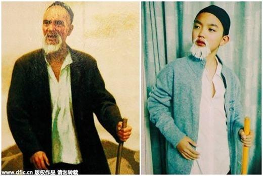 """Giấy vụn là chất liệu được nhiều học sinh sử dụng, chủ yếu để làm râu. Trong ảnh là """"Cụ già chống gậy"""" của họa sĩ Trung QuốcJin Shangyi và """"phiên bản lỗi"""" kế bên. (Ảnh:China Daily)"""