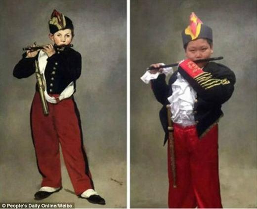 """Bức """"The Fife player""""của danh họa Manet được cậu bé """"biểu diễn"""" lại. (Ảnh:China Daily)"""