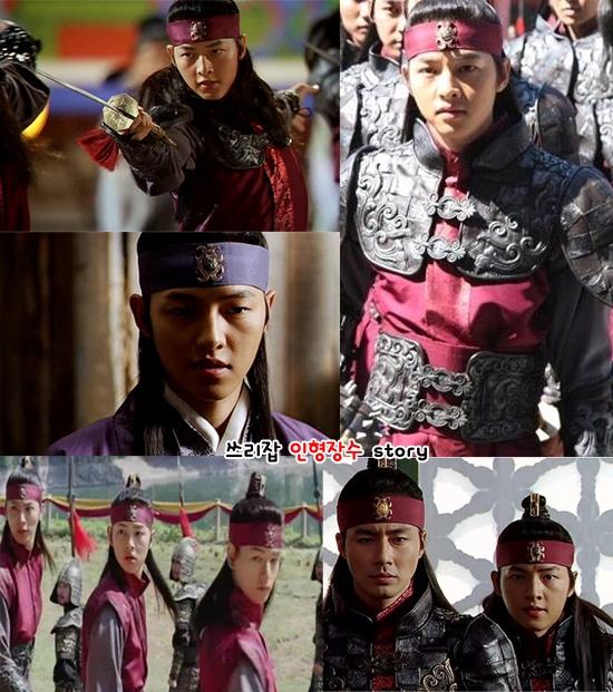 """Song Joong Ki xuất hiện lần đầu tiên trên màn ảnh Hàn vớivai quân lính dưới trướng Jo In Sung trong Song Hoa Điếm. Với vẻ ngoài mĩ nam nổi bật, anh nhanh chóng lọt vào """"mắt xanh"""" của các đạo diễn và nhà làm phim."""