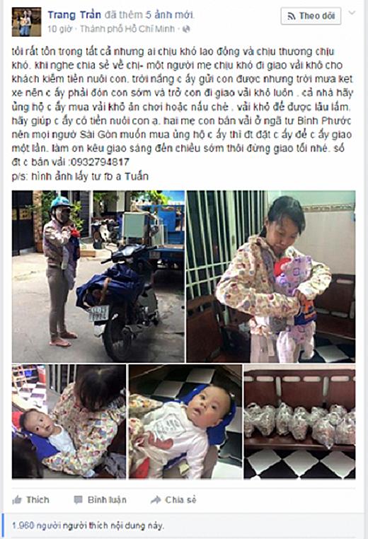 Người mẹ địu con nhỏ đi bán vải khô (Ảnh: Facebook)