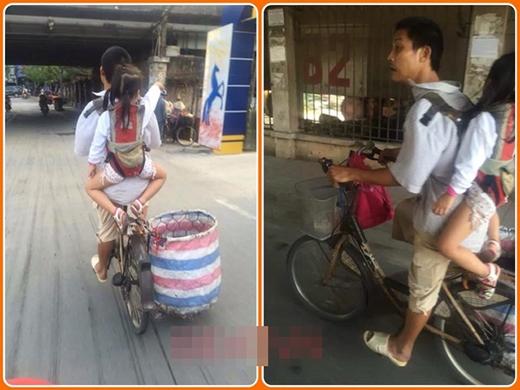 Người cha địu con đạp xe đi nhặt rắc khắp phố phường Hà Nội. (Ảnh: Internet)