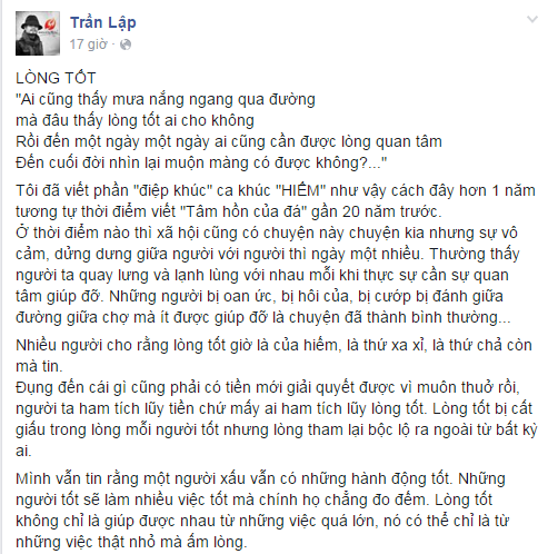 Trải qua bạo bệnh, Trần Lập cảm thấy bất ngờ về lòng tốt của mọi người - Tin sao Viet - Tin tuc sao Viet - Scandal sao Viet - Tin tuc cua Sao - Tin cua Sao