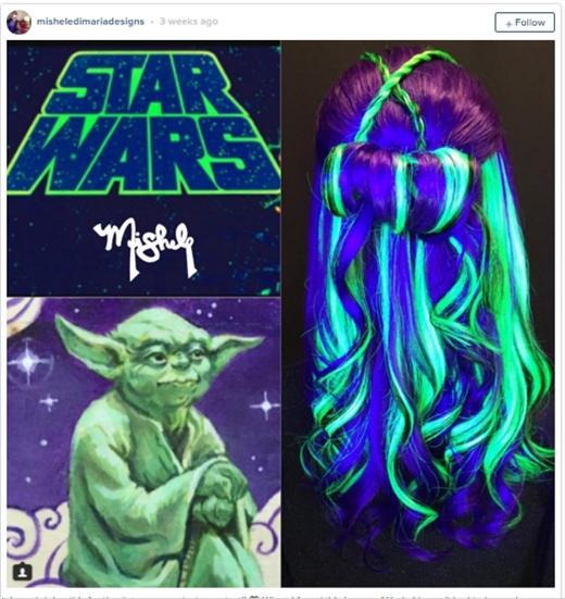 Mái tóc lấy cảm hứng từ bộ phimStar Wars (Chiến tranh giữa các vì sao) (Ảnh: misheledimariadesigns)
