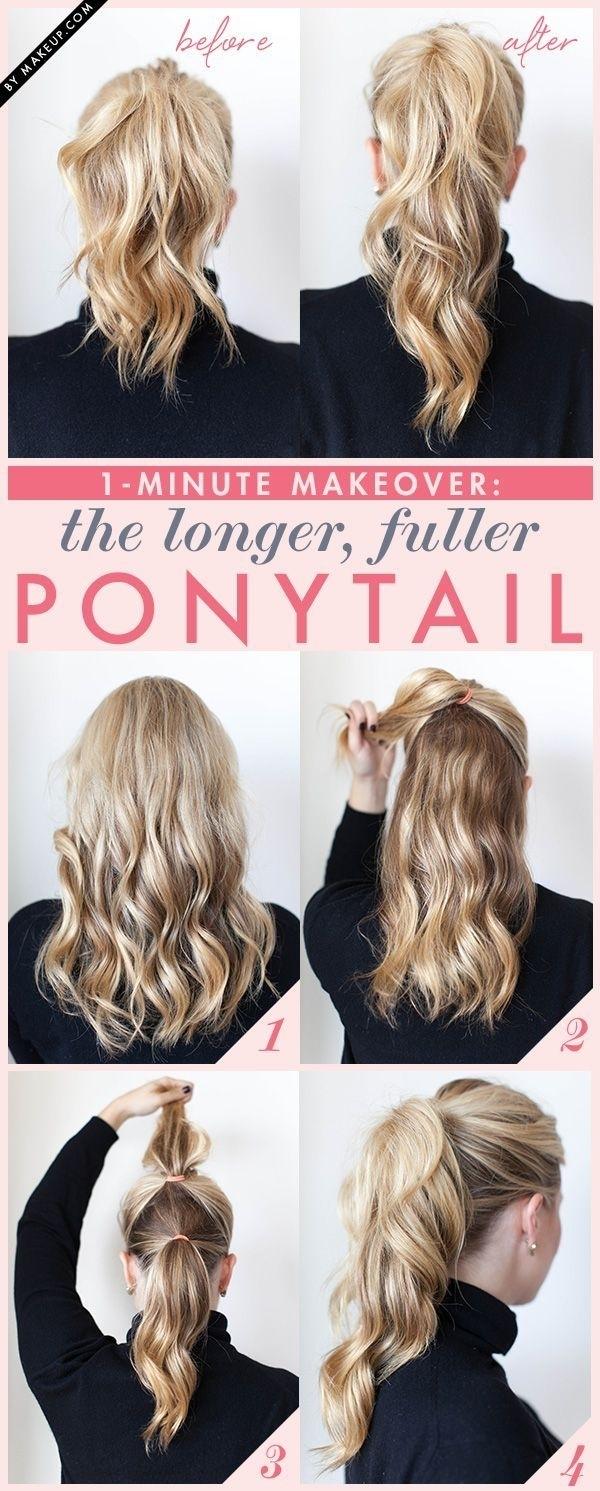 Các bước tạo tóc đuôi ngựa 2 tầng. (Ảnh: Internet)