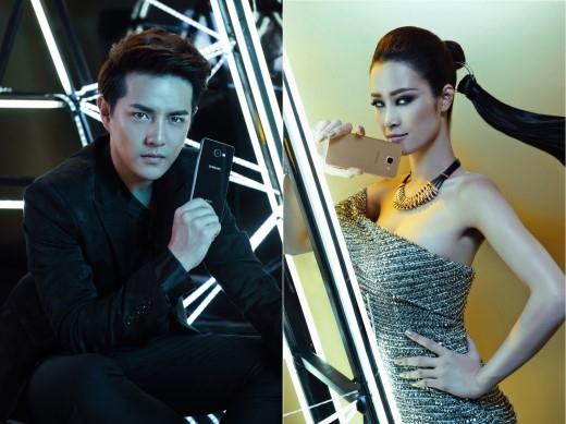 Đông Nhi và Ông Cao Thắng tạo dáng phong cách cùng bộ đôi Galaxy A 2016.