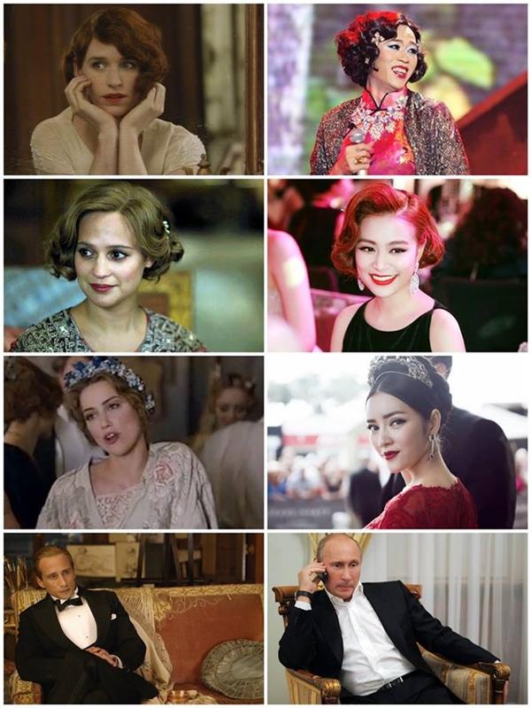 Sau khi công chiếu, nhiều hình ảnh trong The Danish Girl đã được cư dân mạng mang ra so sánh với nhiều sao Việt bởi nét tương đồng khá thú vị. Trong đó, những nhân vật được mang ra so sánh gồm có: Hoài Linh, Hoàng Thùy Linh, Lý Nhã Kỳ và Chi Pu. Thậm chí có những cảnh quay trông giống Thủ tướng Nga Putin.