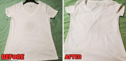 Cách làm này hiệu quả hơn hai cách nói trên, vết bẩn đã hoàn toàn biến mất, rất khó nhìn thấy. Tuy nhiên khi áo khô thì nó lại hiện trở lại. (Ảnh: Internet)