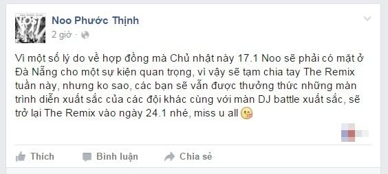 Fan tiếc nuối vì Noo Phước Thịnh đột ngột bỏ thi The Remix - Tin sao Viet - Tin tuc sao Viet - Scandal sao Viet - Tin tuc cua Sao - Tin cua Sao