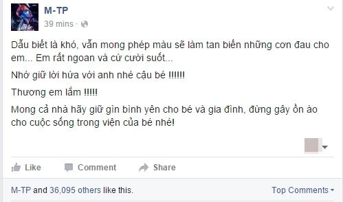 Nam ca sĩ bày tỏ lời động viên trên trang fanpage. - Tin sao Viet - Tin tuc sao Viet - Scandal sao Viet - Tin tuc cua Sao - Tin cua Sao