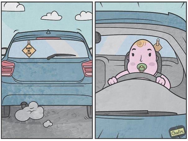 Này, có-trẻ-em-trong-xe thật đấy nhé, không đùa đâu!