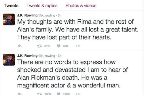 Nhà văn Rowling chia sẻ cảm xúc tưởng nhớ tới Alan Rickman.(Ảnh: Internet)