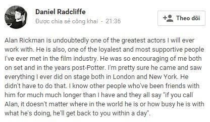 """Daniel Radcliffe dành rất nhiều lời ưu ái khi nói về """"Thầy Snape"""".(Ảnh: Internet)"""