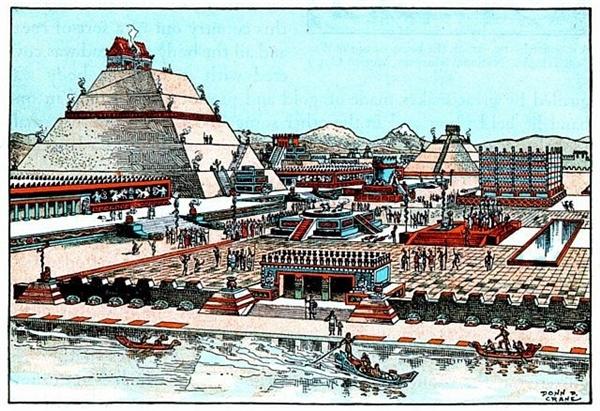 Các hoàng đế Aztec xây dựng cung điện của họ tại thủ đô Tenochtitlan thường nằm gần các ngôi đền. Theo đó, cung điện được xây dựng bằng những phiến đá lớn. Cung điện gồm có 50 phòng và bên trong có các khu vườn, hồ nước...