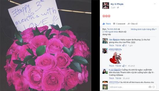 Hình ảnh bó hoa hồng cùng lời nhắn ngọt ngào mà Cường Đô La gửi đến Hạ Vi đã xóa tan tin đồn chia tay giữa hai người. (Ảnh: Internet) - Tin sao Viet - Tin tuc sao Viet - Scandal sao Viet - Tin tuc cua Sao - Tin cua Sao