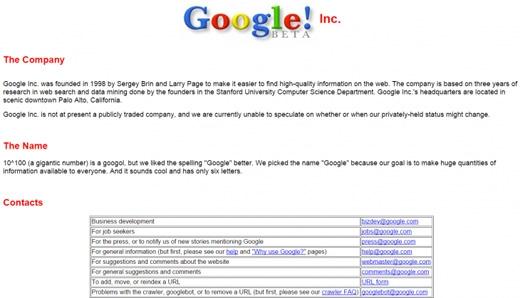 Trang giới thiệu ban đầu về Google.(Ảnh: Internet)