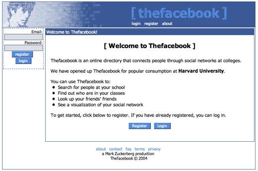 Giao diện đăng nhập nguyên thủy của Facebook.(Ảnh: Internet)