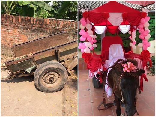Xe ngựa do chính chú rể thiết kế trong một đám cưới ở Thái Bình. Màu sắc sặc sỡ và thiết kế ấn tượng khiến cho đoàn người cực kì nổi bật giữa con đường quê êm ả.(Ảnh: Internet)