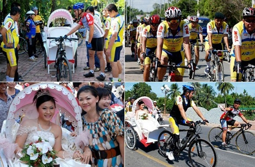 Một đám cưới vô cùng nổi bật trên đoạn đường khi xuất hiện cùng đoàn xe đua ở Bình Dương. (Ảnh: Imternet)