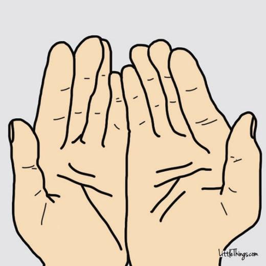 Hãy để ý xem chỉ tay hai bên giống hay khác nhau nhé. (Ảnh: Maya Borenstein)