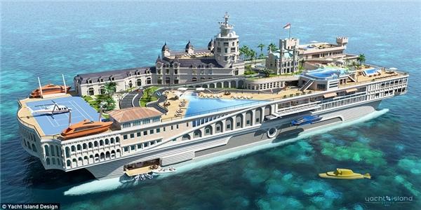 Streets of Monaco mang dáng dấp của một con tàu sân bay hơn là một du thuyền do mô phỏng theo kiểu thiết kế sang trọng của tàu sân bay. (Ảnh: Daily Mail)