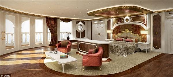 Phần lớn thiết kế nội thất của siêu du thuyền này mang lại cho du khách cảm giác đang tận hưởng không gian xa hoa của nhữngkhách sạn hàng đầu Monaco.(Ảnh: Daily Mail)