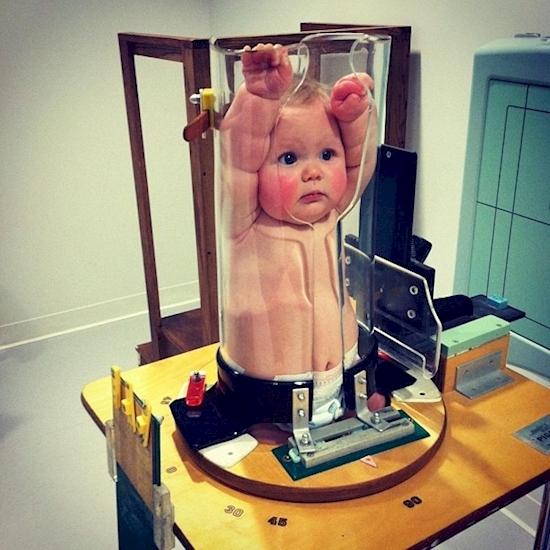 Có bao giờ bạn thấy dụng cụ giữ em bé để chụp ảnh X-quang như thếnày chưa?(Ảnh: Diply)