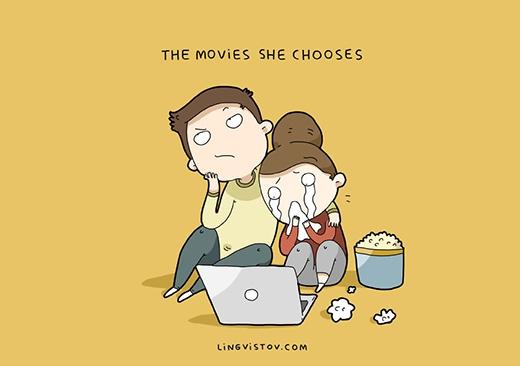 """""""Nàng có gu xem phim cực chuẩn"""". Phim do nàng chọn, bắp rangnàng ăn và nhất là nước mắt cũng do nàng... giành mà khóc hết. (Ảnh: Livingstov)"""