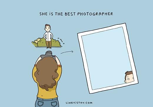 """""""Nàng là tay nhiếp ảnh cự phách"""". Ảnh của nàng thường chụp toàn khung cảnh và những thứ không phải là chàng. Nhưng các bạn nam cũng đừng vội buồn vì nếu nhìn kĩ sẽ thấy một phần khuôn mặt mình trong ảnh mà. Vả lại nàng cũng cực giỏi chụp hình """"tự sướng"""".(Ảnh: Livingstov)"""
