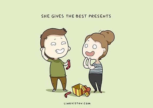 """""""Nàng luôn tặng những món quà đúng ý tôi nhất"""". Các nàng thường suy nghĩ rất thận trọng khi lựa quà cho người ấy. Nhưng thực ra, nếu là chàng những năm thơ ấu thì sẽ hét lên sung sướng khi được nhận quà từ nàng, còn bây giờ thì...(Ảnh: Livingstov)"""