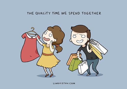 """""""Thời gian bên nhau cực kì lí thú và xứng đáng"""". Đi với nàng, các chàng có thể thu thập thêm nhiều kiến thức về... thời trang, xu hướng, phong cách, các cửa hàng quần áo """"ngon - bổ - rẻ"""" và nhiều nữa. (Ảnh: Livingstov)"""