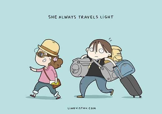 """""""Nàng không bao giờ đi du lịch với đồ đạc cồng kềnh"""". Các nàng chỉ cần một chiếc túi nhỏ đựng tiền, điện thoại, giấy tờ và đồ trang điểm thôi. Ngược lại, các chàng lúc nào cũng lỉnh kỉnh những túi xách, vali... quần áo của mình và cả củanàng nênthường hay bị phàn nàn: """"Sao anh mang nhiều đồ thế?"""". (Ảnh: Livingstov)"""