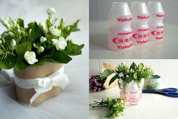 Lọ hoa được làm từ chai sữa chua. (Ảnh: Internet)
