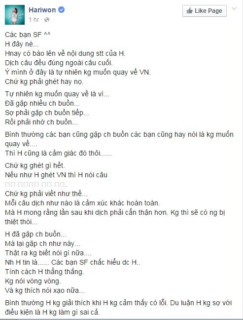 Hari Won lên tiếng trước nghi vấn không quay lại Việt Nam - Tin sao Viet - Tin tuc sao Viet - Scandal sao Viet - Tin tuc cua Sao - Tin cua Sao