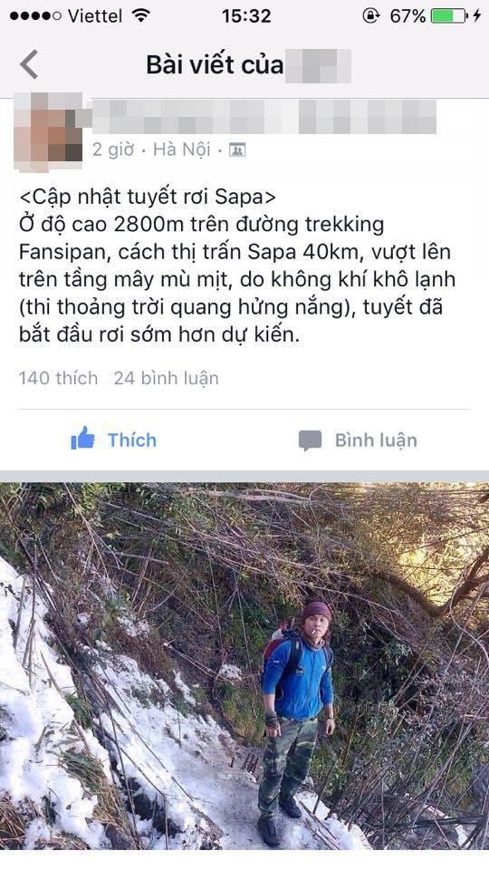Nam thanh niên đăng tải hình ảnh đang trên đường leo đỉnh Fansipan và gặp tuyết rơi. (Ảnh: Internet)