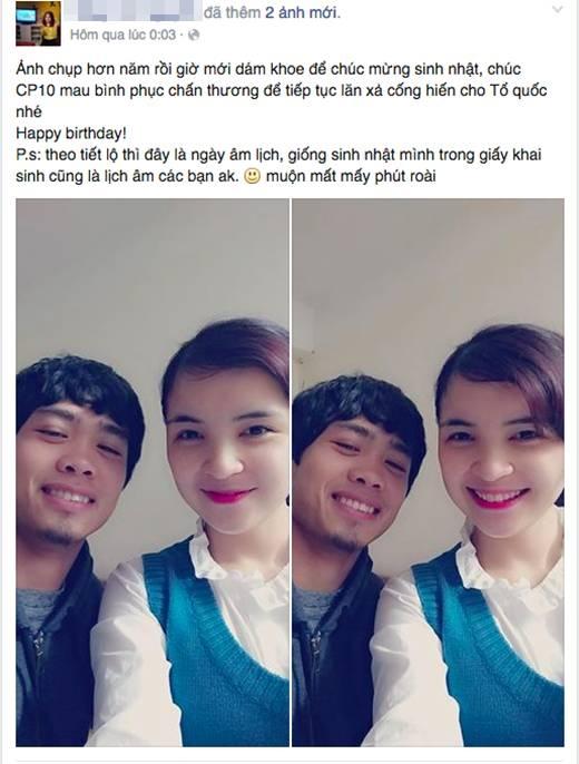 Chị gái Hoà Minzy chia sẻ hình ảnh thân thiết chúc mừng sinh nhật Công Phượng.(Ảnh: Internet)