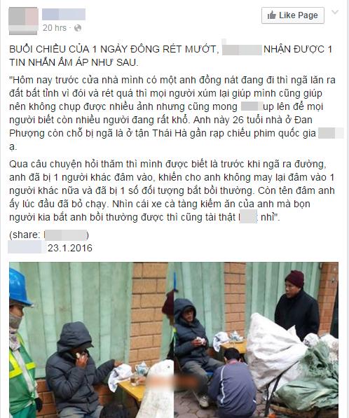 Một trang mạng xã hội nổi tiếng đã chia sẻ câu chuyện ấy.(Ảnh: Chụp FB)