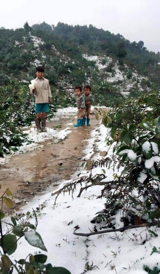 Xót xa hình ảnh 3 em nhỏ đứng co ro trong giá rét ở Sa Pa