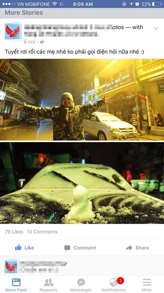 Trên các trang mạng xã hội, nhiều bạn trẻ liên tục đăng tải hình ảnh tuyết rơi ở miền Bắc. Ảnh: Internet