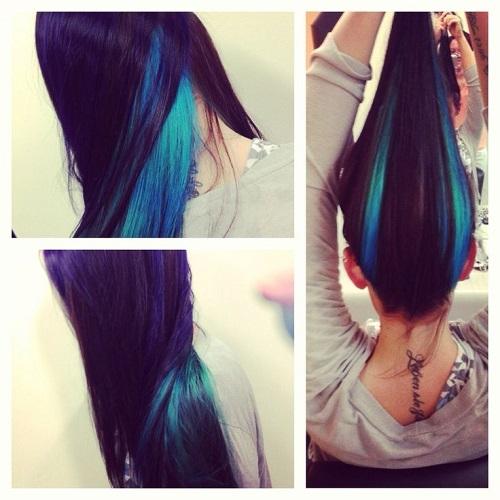 Mái tóc độc đáo mà vẫn giữ được nét ngọt ngào, nữ tính với những gam màu xanh, tím sang trọng. (Ảnh: Internet)