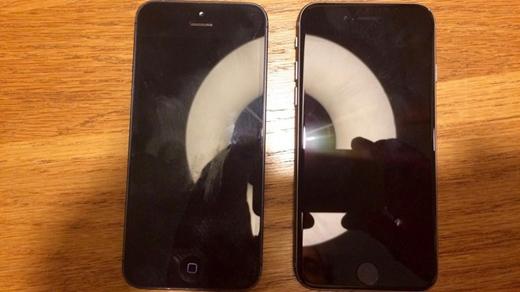 Ảnh chụp iPhone 6C (phải) đọ dáng với iPhone 5 được cho xuất phát từ Việt Nam. Ảnh: One More Thing.