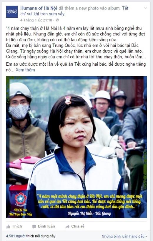 Hoàn cảnh của Hiền đã được nhiều trang mạng xã hội quan tâm chia sẻ.