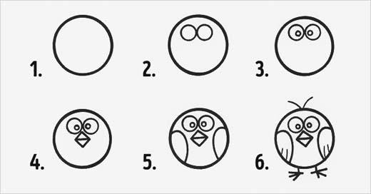 Chỉ với 4 hình tròn, 2 hình tam giác ghép ngược là đã có được gương mặt chú gà, sau đó vẽ thêm hai cái cánh, chân và chỏm tóc ngộ nghĩnhlà đã xong chân dung chú gà rồi nhé! (Ảnh: Internet)