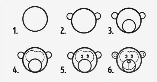 Những hình tròn được sử dụng khéo léo qua 6 bước vẽ đã tạo nên một chú khỉ dễ thương. (Ảnh: Internet)