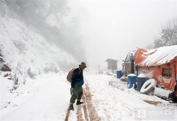 Tuyết rơi ngày càng dày đặc trong ngày 25/1 ở xã Na Ngoi (Kì Sơn, Nghệ An). (Ảnh: Bằng Trần).