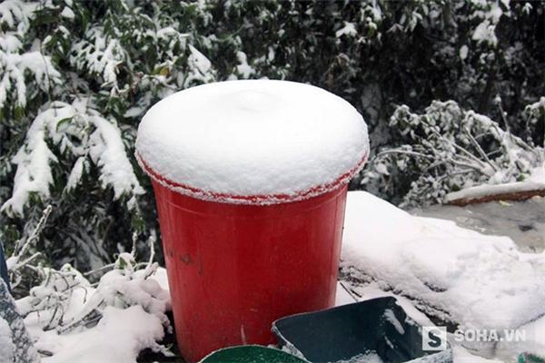 Một xô hứng đầy tuyết trắng sau 2 ngày. (Ảnh: Bằng Trần).